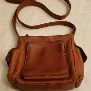 Fossil Leather Crossbody Bag Tan Wallet Pocket